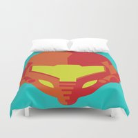 metroid Duvet Covers featuring Samus - Metroid by Rey~