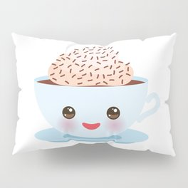 Cute blue Kawai cup, coffee with pink cheeks and winking eyes Pillow Sham