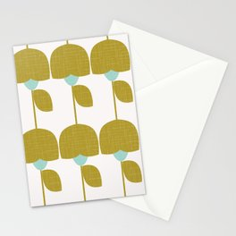 Mostard and Mint Retro Flowers in Scandianvian Style Stationery Cards