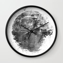 Death Sta Watercolor B&W Wall Clock