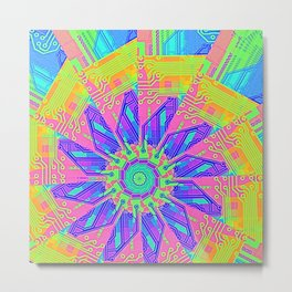 Aztec Sun Wheel Metal Print