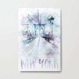 Modern Art NYC Brooklyn Bridge | watercolor Metal Print
