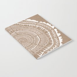 Tree Rings – White Ink on Kraft Notebook