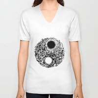 ying yang V-neck T-shirts featuring Ying-Yang by Carina Maitch