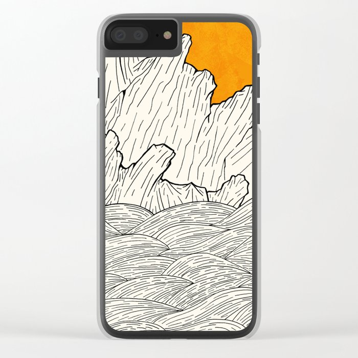 The great sun over the sea cliffs Clear iPhone Case