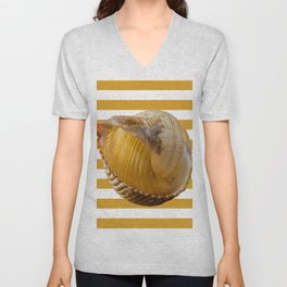 A Sea Shell with Nautical Stripes in Butterscotch and White Unisex V-Neck
