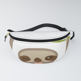 funny and cute smiling Three-toed sloth on green branch 2 Fanny Pack