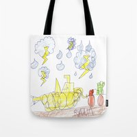 percy jackson Tote Bags featuring Byron Rescues Percy by Ryan van Gogh