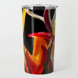 Tulip flowers against black background Travel Mug