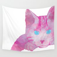 kit king Wall Tapestries featuring Kit Kat by AlltheRowBoats