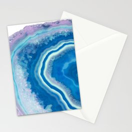 Teal and violet agate Stationery Cards