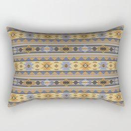 Southwest Tribal Pattern Design Gold Blue Gray Rectangular Pillow