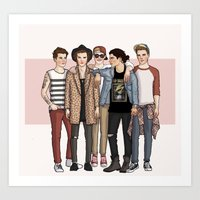 one direction Art Prints featuring One Direction by vulcains