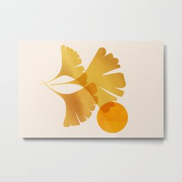Abstraction_SUN_Ginkgo_Minimalism_001 Metal Print