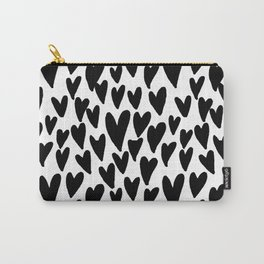 hearts love valentines day minimal black and white pattern gifts Carry-All Pouch