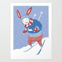 skiing Art Prints featuring Skiing by Minna Karoliina