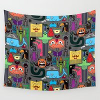 monsters Wall Tapestries featuring Monsters by Fran Court