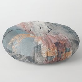 S'il Vous Plait: an abstract mixed-media piece in blue, gray, and gold by Alyssa Hamilton Art Floor Pillow