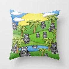 Hippos. Throw Pillow