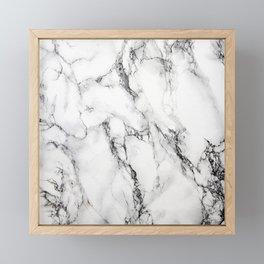 White Marble Texture Framed Mini Art Print