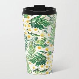Textured Vintage Daisy and Fern Pattern  Metal Travel Mug