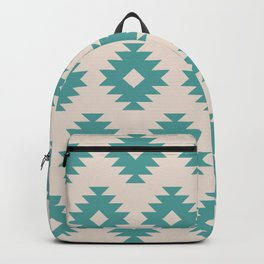 Southwestern Pattern 435 Beige and Turquoise Backpack