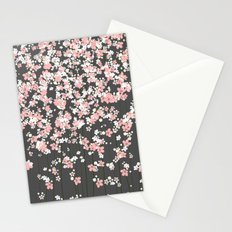 Black background Pink Shidare Zakura Stationery Cards