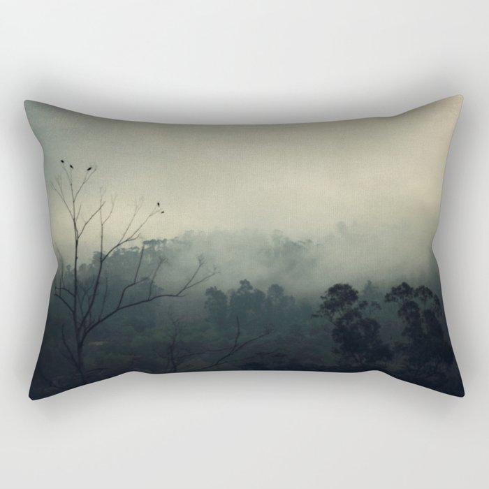 moody fog mountain Rectangular Pillow