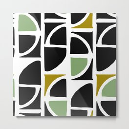 Mid-Century Modern in Mint Green and Yellow Metal Print