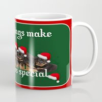 rottweiler Mugs featuring Little Things Make Christmas Special Rottweiler Greetings  by taiche