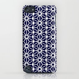 Asanoha Pattern - White on Navy iPhone Case