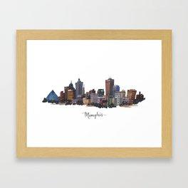 Memphis, Tennessee Skyline Fine Art Giclee Print Framed Art Print