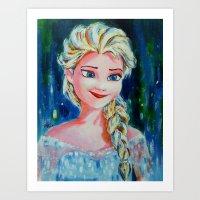 frozen elsa Art Prints featuring Elsa Frozen by Diptimayee Nayak