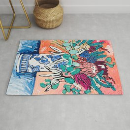 Orange Protea Bouquet Australian Wildflower Still Life Painting Rug