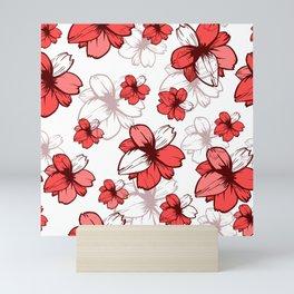 Red Ditsy Floral Hawaii Flowers Design Mini Art Print
