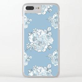 Azure Bouquet Pattern Clear iPhone Case