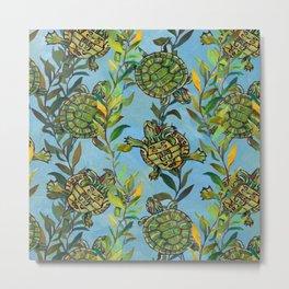 Slider Turtle Pattern by Robert Phelps Metal Print