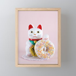 Maneki Donut Framed Mini Art Print