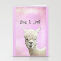 lama Stationery Cards featuring Lama by Monika Strigel