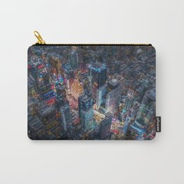 Times Square neon city lights, Midnight landscape painting Carry-All Pouch