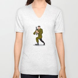 Soldier Aiming Sub-Machine Gun Cartoon Unisex V-Neck