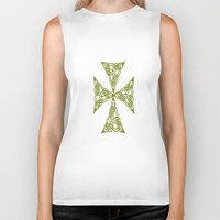 marc johns Biker Tanks featuring Lindisfarne St Johns Knot Grunge by taiche