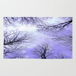 Black Trees Lavender Sky Rug