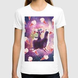 Thug Space Cat On Llama Unicorn - Ice Cream T-shirt