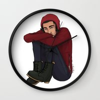 zayn Wall Clocks featuring Comfy Zayn by Ashley R. Guillory