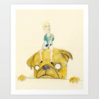 finn and jake Art Prints featuring Finn and Jake by withapencilinhand