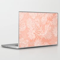 aelwen Laptop & iPad Skins featuring Chic hand drawn floral pattern on pink blush by Girly Trend