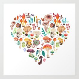 Mushroom heart Art Print
