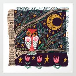 Folk Art Night Owl Art Print