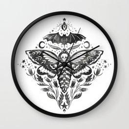 Watercolor Skull Moth Wall Clock